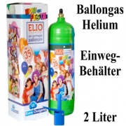Helium-Ballongas Einwegflasche, 2 Liter Helium